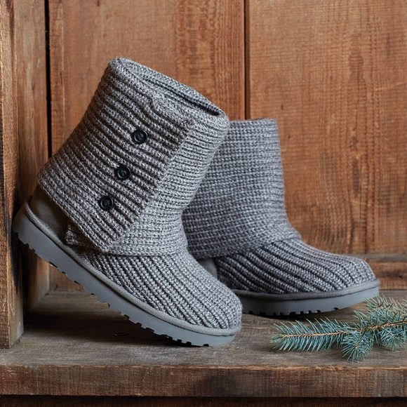 Ugg Shoes Classic Cardy Button Detailed Knit Boots Poshmark